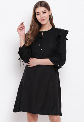 Solid Color Rayon Short Dress in Black