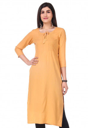 Solid Color Rayon Straight Kurta in Beige