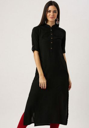 Solid Color Rayon Straight Kurta in Black