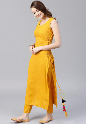 Solid Color Rayon Straight Kurta Set in Mustard