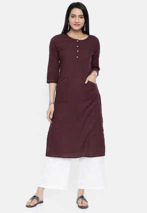 Solid Color Rayon Straight Kurta Set in Wine