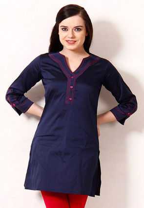 Solid Color Rayon Straight Kurti in Navy Blue