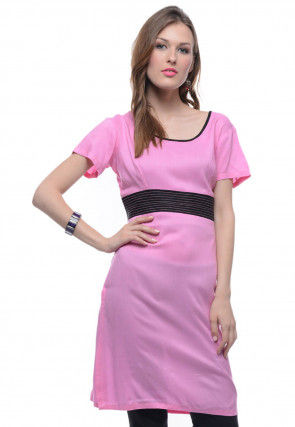 Solid Color Rayon Straight Kurti in Pink