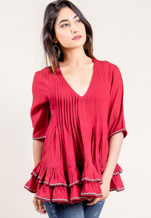 Solid Color Rayon Top in Fuchsia