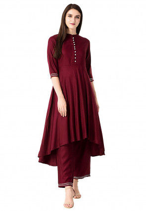 Solid Color Rayon Top N Bottom in Maroon