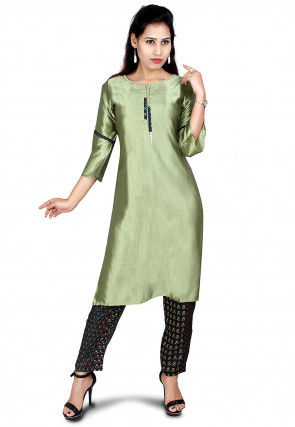 Solid Color Satin Kurta with Pant in Olive Green and Navy Blue