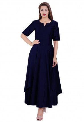 Solid Color Satin Layered Kurta in Navy Blue