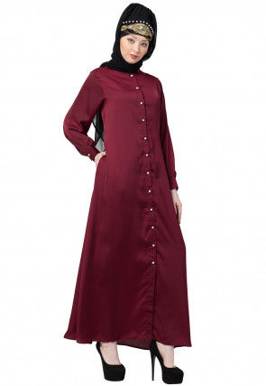 Solid Color Satin Nida Front Open Abaya in Maroon