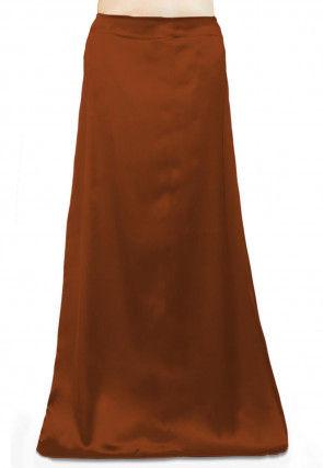 Solid Color Satin Petticoat in Brown
