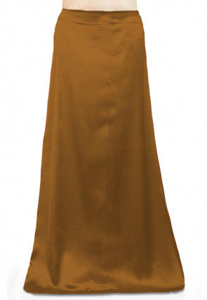 Solid Color Satin Petticoat in Old Gold
