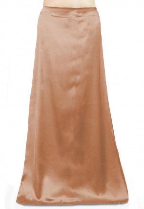 Solid Color Satin Petticoat in Peach