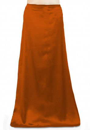 Solid Color Satin Petticoat in Rust