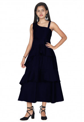 Solid Color Satin Ruffled Midi Dress in Navy Blue