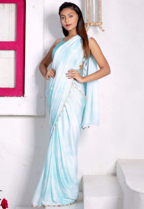 Solid Color Satin Scalloped Saree in Sky Blue