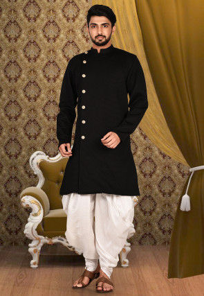 Solid Color Scuba Dhoti Kurta in Black