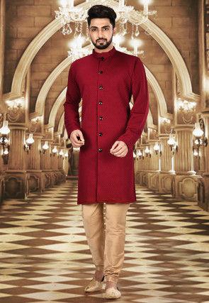 Solid Color Scuba Sherwani in Maroon