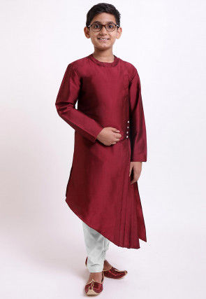 Solid Color Side Pleated Tafetta Silk Kurta in Wine