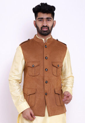 Solid Color Suede Pathani Jacket in Brown