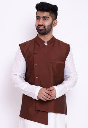 Solid Color Taffeta Silk Asymmetric Nehru Jacket in Brown