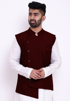 Solid Color Taffeta Silk Asymmetric Nehru Jacket in Maroon