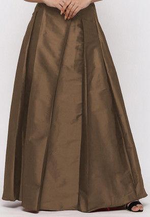 Solid Color Taffeta Silk Box Pleated Skirt in Copper