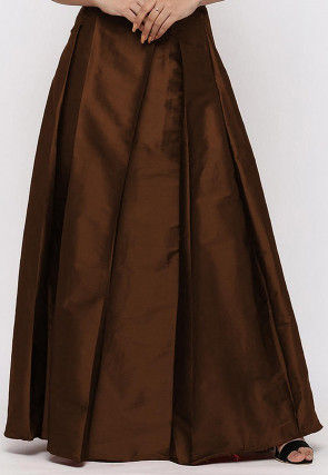 Solid Color Taffeta Silk Box Pleated Skirt in Dark Brown