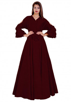 Solid Color Taffeta Silk Flared Gown in Maroon