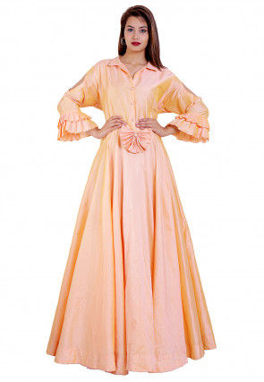 Solid Color Taffeta Silk Flared Gown in Peach