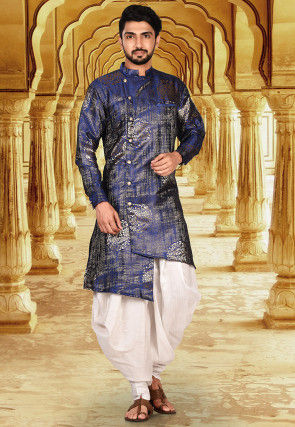 Solid Color Taffeta Silk jacquard Dhoti Kurta in Royal Blue