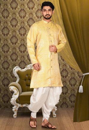 Solid Color Taffeta Silk jacquard Dhoti Kurta in Yellow