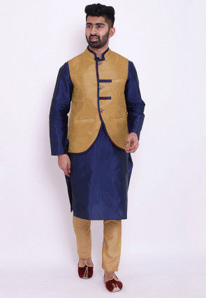 Solid Color Taffeta Silk Kurta Jacket Set in Blue and Beige