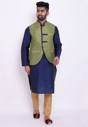 Solid Color Taffeta Silk Kurta Jacket Set in Blue and Green
