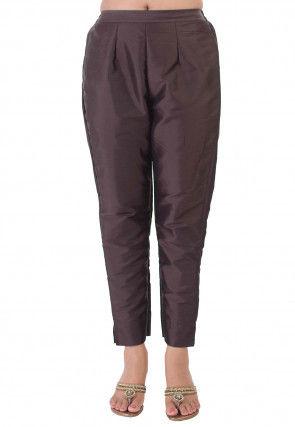 Solid Color Taffeta Silk Pant in Dark Brown