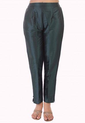Solid Color Taffeta Silk Pant in Dark Teal Blue