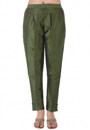 Solid Color Taffeta Silk Pant in Olive Green