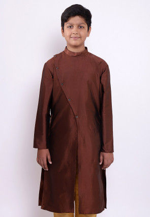 Solid Color Taffeta Silk Kurta in Brown