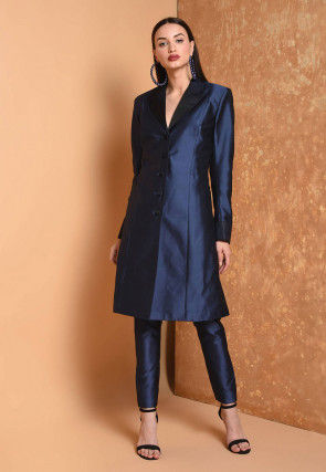 Solid Color Taffeta Silk Tunic with Pant in Dark Blue