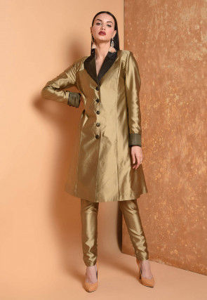Solid Color Taffeta Silk Tunic with Pant in Golden
