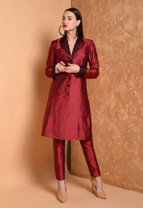 Solid Color Taffeta Silk Tunic with Pant in Maroon
