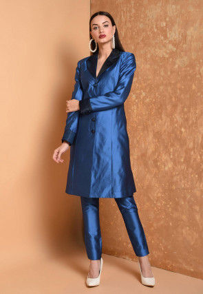 Solid Color Taffeta Silk Tunic with Pant in Royal Blue