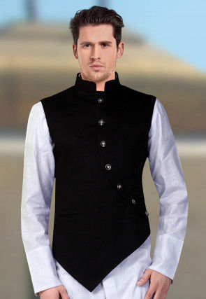 Solid Color Terry Rayon Asymmetric Nehru Jacket in Black