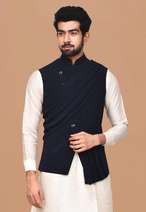 Solid Color Terry Rayon Asymmetric Nehru Jacket in Navy Blue