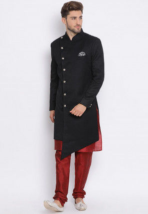Solid Color Terry Rayon Asymmetric Sherwani in Black