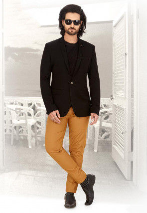 Solid Color Terry Rayon Blazer in Charcoal Black