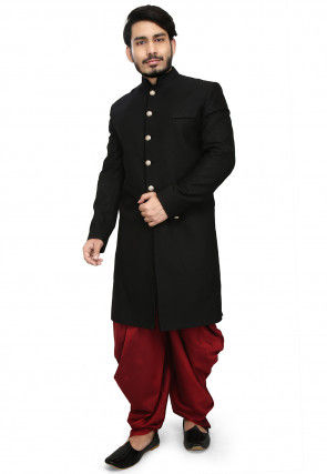 Solid Color Terry Rayon Dhoti Sherwani in Black