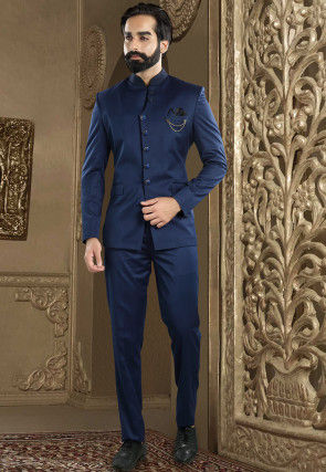Solid Color Terry Rayon Jodhpuri Suit in Navy Blue