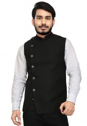 Solid Color Terry Rayon Nehru Jacket in Black