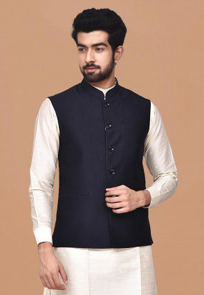 Solid Color Terry Rayon Nehru Jacket in Navy Blue