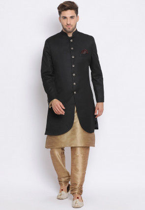Solid Color Terry Rayon Sherwani in Black