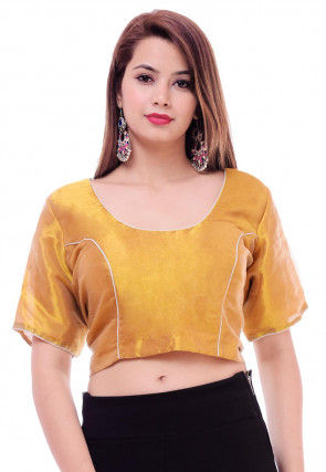 Solid Color Tissue Blouse in Golden and White